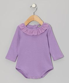 Take a look at this Lavender Ruffle Collar Bodysuit - Infant by Petit Confection on #zulily today!