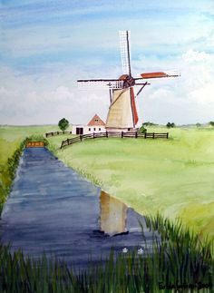 Dutch Windmill Painting by Farida Greenfield Windmill Art, Dutch Windmill, Sketch Painting, Oil Painting On Canvas, Knife Painting, Pictures To Paint, Cool Pictures, Amsterdam Art, Summer Painting