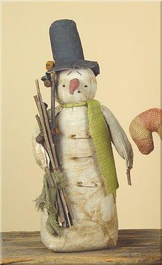 C1341  Primitive Snowman With Twigs