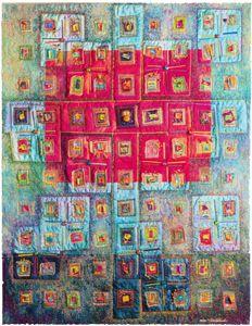 Vickie Hallmark | Soul Searching, machine quilted art quilt thread painting
