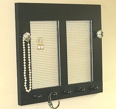 Jewelry Earring Holder Organizer Vintage Black With Crystal Knobs Jewelry Holder Framed Window Jewelry Holder Earrings Rustic Wood