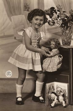 The Vintage Prophecy Postcards… 1950s Children Little Girl Fancy Portrait with…