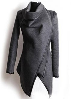 Attractive Turndown Collar Long Sleeve Grey Coat for Woman