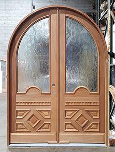 Beautiful Round Top Double Door An All Wood Double Round Top Door With Decorative Wood Panels And Obscured Glass Be Door Picture Wooden Doors Exterior Doors