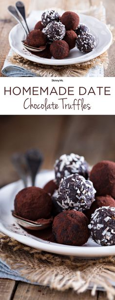 These Homemade Date Chocolate Truffles are the perfect party pleaser! #chocolate #truffles #skinnyms