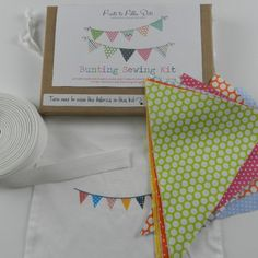 Bunting Sewing Kit - Funky Spots, Bunting Sewing Kit - Festival - all you need to make 3 mtrs of fab bunting in solid colours inspired by all things girly!  Triangles, specialist bunting tape, full instructions and a fab drawstring bunting bag to store yo