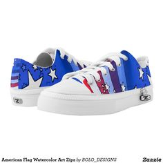 American Flag Watercolor Art Zipz Printed Shoes