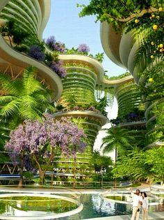 Hyperion seran un conjunto de torres sustentables en Nueva Delhi, se espera que en el 2020 estén terminadas .El arquitecto es el belga Vicent Callebaut Futuristic Architecture, Golf Courses, Technology, Ideas, Beautiful, Design, Tech, Futurism Architecture, Thoughts