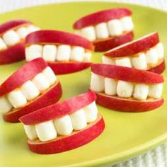 apple peanut butter marshmallows smile snack | State Dental Directors