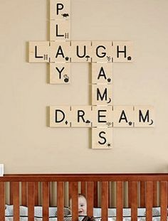 Absolutely love this Scrabble inspired decoration! This could definitely be easily made (I would have to look up what the Scrabble pieces look like since I can't remember the numbers that go with each letter). Scrabble Kunst, Scrabble Wall Art, Scrabble Letters, Scrabble Tiles, Alphabet Letters, Scrabble Ornaments, Scrabble Crafts, Scrabble Wand, Interior Design Guide