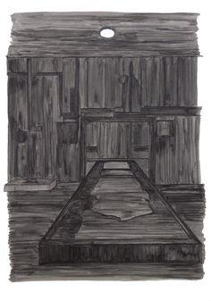Unknown black substance #1, inkt (gemaakt van het in de bunker verzamelde roet en water) op papier, 21 x 30 cm