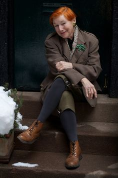 via ADVANCED STYLE - Irish - American writer Alice Carey, in her early 60's, says she started going gray in her 20's. For decades she has worn henna on her white hair. She models a favorite vintage outfit at http://advancedstyle.blogspot.com/2013/03/alice-careys-vintage.html  More like her at https://www.pinterest.com/yrauntruth/grow-up-age-croning/