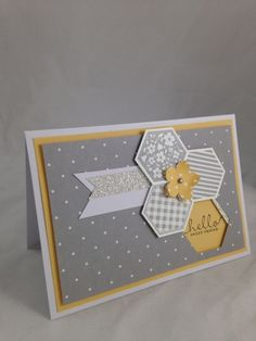 Stampin' Up! ... hand crafted card .. Happenings Card #1 ... white, gray and yellow ... hexagon grouping with a negative space holding the greeting ...