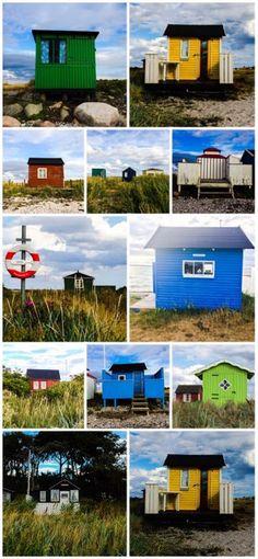 Strandhuset beach huts in Aeroskobing, Aero, Denmark. Taken during my trip in July 2014