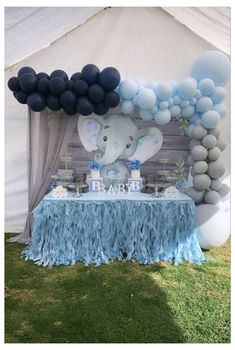 Baby shower baby elephant theme #boy #baby #shower #dessert #table #boybabyshowerdesserttable Baby Shower Decorations For Boys, Boy Baby Shower Themes, Baby Shower Balloons, Baby Boy Shower, Baby Shower Favors, Decoracion Baby Shower Niña, Baby Shower Invitaciones, Elephant Baby Shower Cake, Elephant Theme