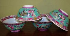 Four Chinese / Straits porcelain bowls, late Qing - by David Barsby Auctions
