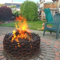 Industrial chain as a fire pit.
