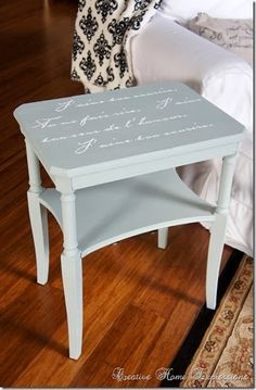 The pin leads to a blog entry about -> creative home expressions--table with french script...but I am pinning for the floor