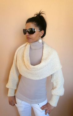 NEW Spring Fashion Long Sleeved Shrug Shawl in by knittingFashion