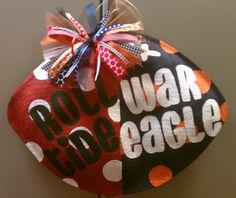 House Divided Alabama Auburn Football Burlap Door Hanger