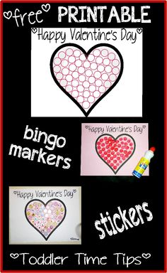 Valentine's Day heart printable Stickers /  Bingo marker fun Toddler Time Tips https://www.facebook.com/toddlertimetips