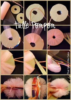 Best 12 Production of pompons and tulle! Production of pompons and tulle – SkillOfKing. Tulle Crafts, Pom Pom Crafts, Diy And Crafts, Crafts For Kids, Festa Party, Diy Party, Party Ideas, Fabric Flowers, Paper Flowers