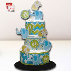 The Moon, the Stars and the Elephants Diaper Cake Template