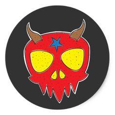 #Devilish Skull Classic Round Sticker - #Halloween happy halloween #festival #party #holiday