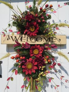 Fall Swag Wreath Fall Door Wreath Welcome Sign by hollyhillwreaths