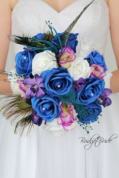 Purple And Gold Wedding, Blue White Weddings, Purple Wedding Bouquets, Blue Wedding Flowers, Bridesmaid Flowers, Bride Bouquets, Bridal Flowers, Flower Bouquet Wedding, Royal Blue Flowers