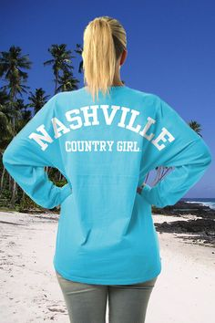 BACK VIEW - Juniors Country Girls™ Varsity Nashville LS Spirit Tee | Junior LS Spirit Tees!  6.5 oz., 100% cotton Charcoal Heather is 60/40 cotton/polyester Oxford is 92/8 cotton/polyester Officially licensed and trademarked front and back yoke Rounded bottom waist Ribbed collar and cuffs Trademarked front and back yoke