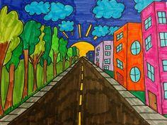 Drawing Lessons For Kids, Art Drawings For Kids, Art For Kids, Perspective Drawing Lessons, Perspective Art, Salles D'art Élémentaires, Elementary Art Rooms, Arte Online, 8th Grade Art