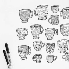 Wednesday...cup of tea anyone? Drawing up some cuppas for a local cafe. Coffee, biscuits and cupcakes yet to do.I have a feeling I may need to have some, purely for research purposes of course!