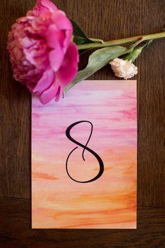 Pink/Orange Coral Watercolor wedding table numbers by Pineapple Street Designs