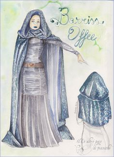 "Costume concept art of Star Wars character ""Barriss Offee""."