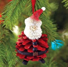 christmas tree ornaments natural supplies pinecone red santa craft