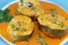 Merluza o pescadilla de pincho. en salsa de piquillos Ana Sevilla con Thermomix
