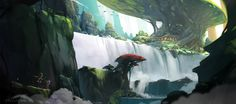 ArtStation - 瀑布2, R ombr Game Background, Art Forms, Fantasy, Drawings, Artwork, Anime, How To Make, Painting, Fandom