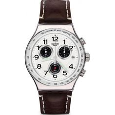 New Swatch watches Irony Chrono DESTINATION HAMBURG Men's Watches online. Find the perfect Swatch mens watches from top watches store - allwatchesonline High End Watches, Fine Watches, Sport Watches, Cool Watches, Watches For Men, Men's Watches, Wrist Watches, Mens Watches Online, Brown Leather Strap Watch