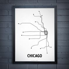 Chicago Lithograph  White/Black by lineposters on Etsy, $24.00