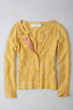 Pointelle Perk Cardigan by Anthropologie. Ooooooo....simple lovely with a full white skirt and feathery scarf ♥