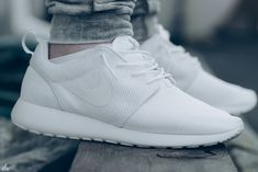 All white Roshe Runs. In @size? now. #sneakers