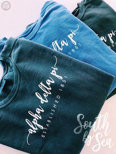 South by Sea - Alpha Delta Pi Sorority Shirt Designs, Sorority Shirts, Tee Shirts, Sorority Canvas, Sorority Paddles, Sorority Crafts, Sorority Recruitment, Sorority Life, Custom Clothing Design