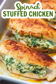 This easy stuffed chicken breast recipe is going to be a new low carb family favorite! The cream cheese and Parmesan add a ton of flavor to this spinach stuffed chicken and the whole recipe is super quick to prepare. #spinachstuffedchicken #lowcarbdinner Raw Food Recipes, Healthy Dinner Recipes, Diet Recipes, Cooking Recipes, Healthy Food, Spinach Stuffed Chicken, Chicken Spinach Recipes, Chicken Breakfast Recipes, Weights