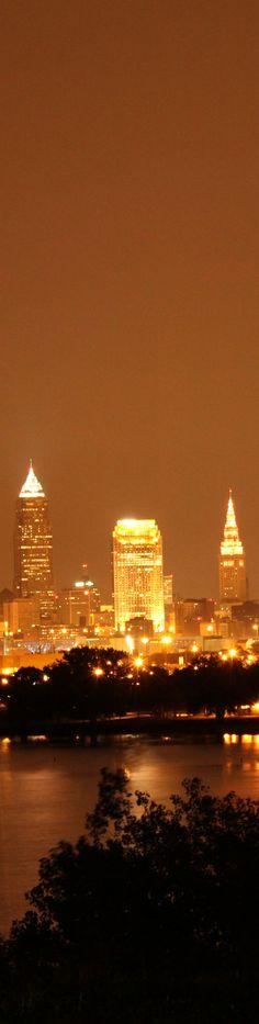 Cleveland Ohio at night.