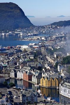 Ålesund in winter.The most beautiful city in Norway