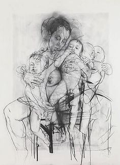 Jenny Saville-This drawing is also untidy as the pencil strokes are thick and smudged. the image itself is quite unappealing but the lack of colour makes it subtle. she has added detail in the face of the woman and baby and has distorted the other parts of the body. this effect makes the piece look interesting and the way it centered draws the eye to the middle of the piece.