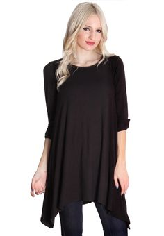 Black Button Sleeve Tunic