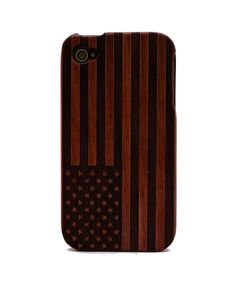 Flag Engraved Rosewood iPhone4/4s Wood Case