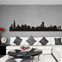 Vinyl Chicago Wall Decal Chicago City Wall Decor Chicago Skyline Wall Sticker Wall Mural Wall Graphic Living Room Wall Decor Black *** For more information, visit image link. (Note:Amazon affiliate link) #WallStickersandMurals